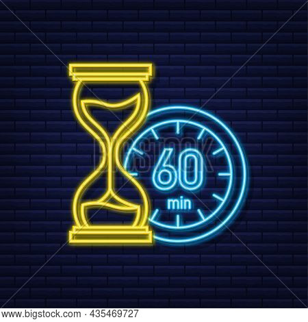 The 60 Minutes, Stopwatch Vector Neon Icon. Stopwatch Icon In Flat Style, Timer On On Color Backgrou