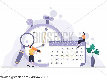 Planning Schedule Or Time Management With Calendar Business Meeting, Activities And Events Organizin