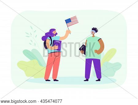 American Exchange Student Meeting Caucasian Girl With Usa Flag. Pupils From Different Countries Flat