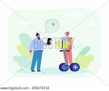 Cartoon Courier With Packages On Electric Personal Transporter. Man In Uniform Delivering Order To C