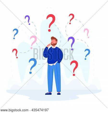 Confused Business Character Making Important Decision. Man With Questions, Different Options, Making
