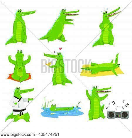 Funny Alligator Cartoon Character Vector Illustration Set. Drawings Of Crocodile In Pond, Big Green