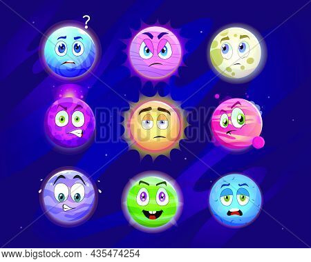 Funny Planet Cartoon Characters Vector Illustrations Set. Colorful Planets With Eyes And Mouths Show