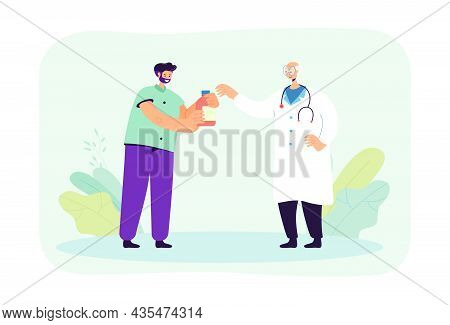 Male Cartoon Patient Receiving Medication From Elderly Doctor. Medical Professional Giving Pills To
