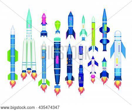 Missile Set For Air Ballistic Strike. Vector Illustration Of Rocket Bomb, Warhead, Jet Artillery She
