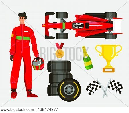 Racer Cartoon Character Vector Illustrations Set. Race Car And Driver, Man With Helmet, Gold Cup, Me