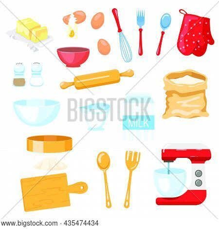 Tools And Ingredients For Baking Vector Illustrations Set. Bag Of Flour Or Sugar, Salt, Whisk, Mixer