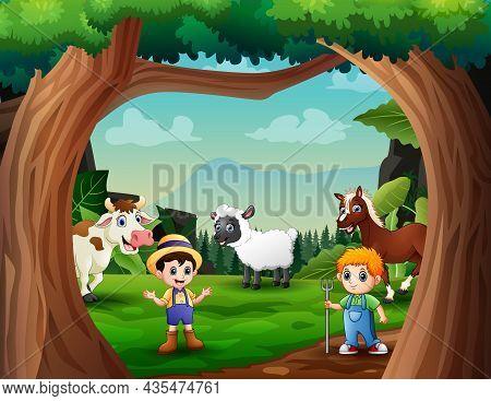 Cartoon The Farmers Herding Farm Animals In Green Field Illustration