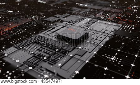 Central Computer Processors Cpu Concept. 3d Rendering. Conceptual Cpu On Circuit Board - Pcb