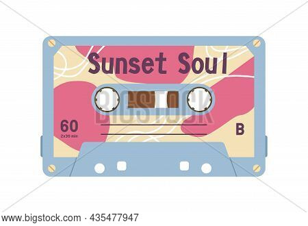 Audio Stereo Cassette With Retro Music Records On Magnetic Tape. Old Casette Of 1980s. Analog Obsole