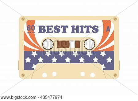Audio Cassette With 80s Records On Magnetic Tape. Old Casette Of Best Hits Of American Music. Nostal