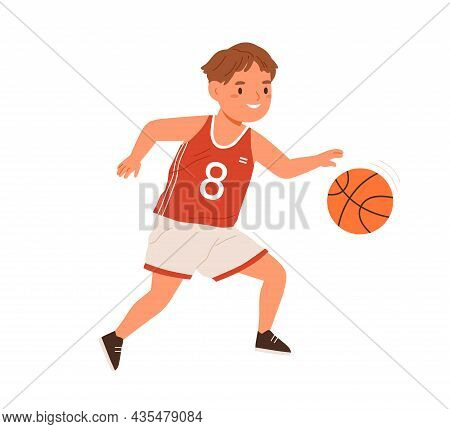 Boy, Basketball Player Dribbling With Ball. Child Athlete In Sportswear During Sports Activity. Happ