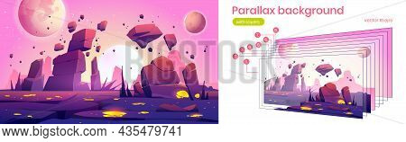 Alien Planet Landscape With Rocks, Cracks And Glowing Spots. Vector Parallax Background For 2d Anima