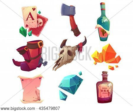 Wild West Objects, Cowboy Boots, Playing Cards, Gold And Gems Isolated On White Background. Vector C