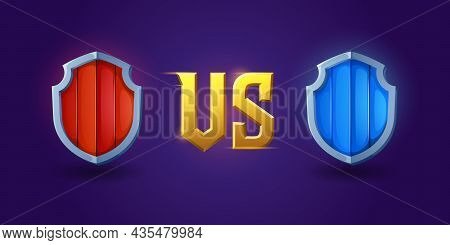 Versus Screen Design With Medieval Shields For Game Battles And Competitions. Vector Template Of Hea