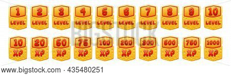 Set Of Cheese Game Level Ui Icons, Score Experience Banners And Xp Rate Isolated App Buttons, Award