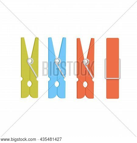 Clothespin Flat Cartoon Illustration Isolated On White Background. Color Elements Of Laundry In Diff