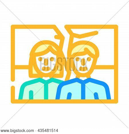 Torn Photo Divorce Color Icon Vector. Torn Photo Divorce Sign. Isolated Symbol Illustration