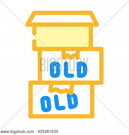 Old Things In Box Color Icon Vector. Old Things In Box Sign. Isolated Symbol Illustration