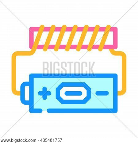 Battery Electromagnetic Color Icon Vector. Battery Electromagnetic Sign. Isolated Symbol Illustratio