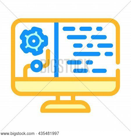 Data Processing Color Icon Vector. Data Processing Sign. Isolated Symbol Illustration