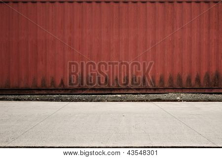 Red Container Van on a Street