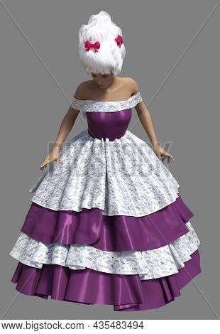 3D Woman In Lace Ball Dress And Rococo Wig