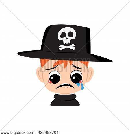 Avatar Of Boy With Red Hair, Crying And Tears Emotion, Sad Face, Depressive Eyes In Hat With Skull.