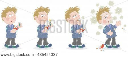 Comic Strip Of A Funny Schoolboy Unsuccessfully Trying To Smoke His First Cigarette, Vector Cartoon
