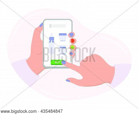 Vector Illustration Hands Hold Cell Phone. Person Makes An Order And Purchases Of Beauty Products. O