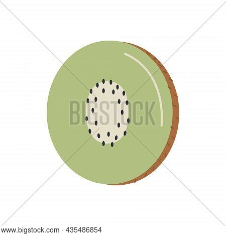 Cutted Kiwi Berry Fruit . Slice Of Tropical Kiwifruit. Simple Colored Doodle Icon. Vector Illustrati