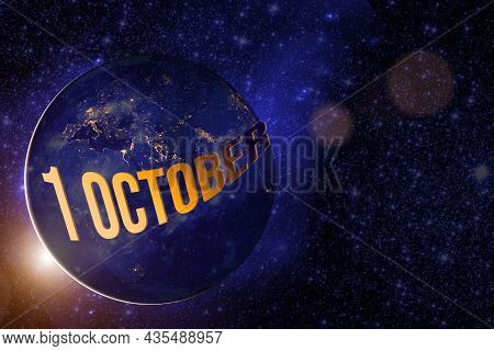 October 1st . Day 1 Of Month, Calendar Date. Earth Globe Planet With Sunrise And Calendar Day. Eleme