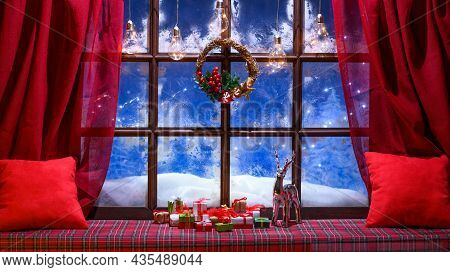 Christmas Cozy Interior Background With Window Sill Illuminated With Lights