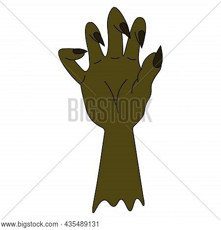 A Stump Of A Zombie Hand. Curved Fingers With Sharp Claws. Dead Man's Green Hand. Colored Vector Ill