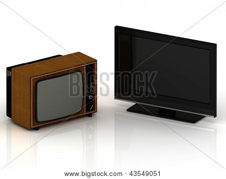 Old Tv And New Lsd Tv