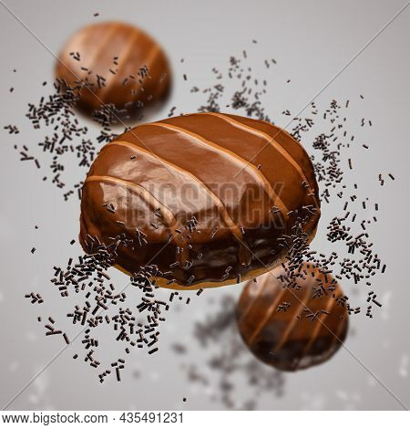 Flying Doughnuts With Chocolate Glaze And Salted Caramel Stripes On Brown Background