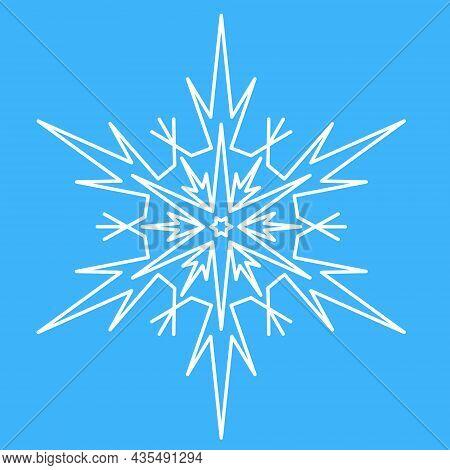 Snowflake, Simple Icon Symbol Of Winter. Star Snowflake Spark, Vector Illustration