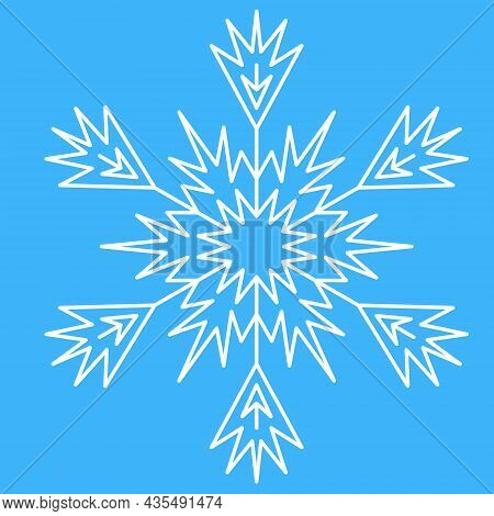 White Ice Snowflake For Design, Unique Crystal Pattern, Vector Illustration