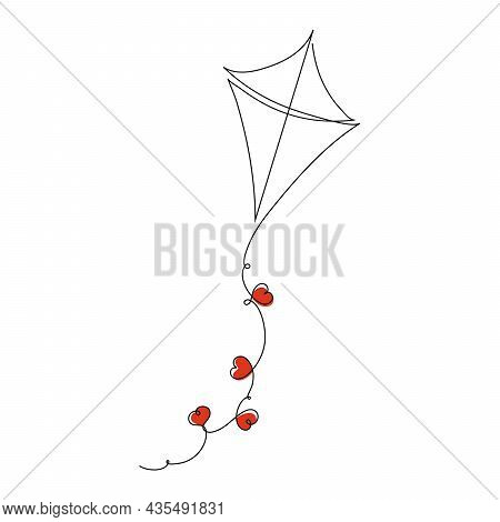 One Continuous Line Drawing Art. Wedding Kite With Hearts. Vector Illustration. Illustration For A W