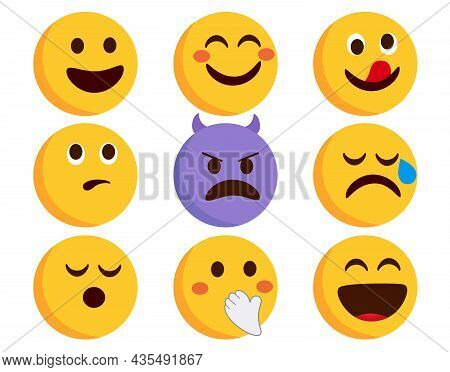 Emoji Emoticons Character Vector Set. Emoticon Flat Emojis With Smiling, Devil And Crying Characters
