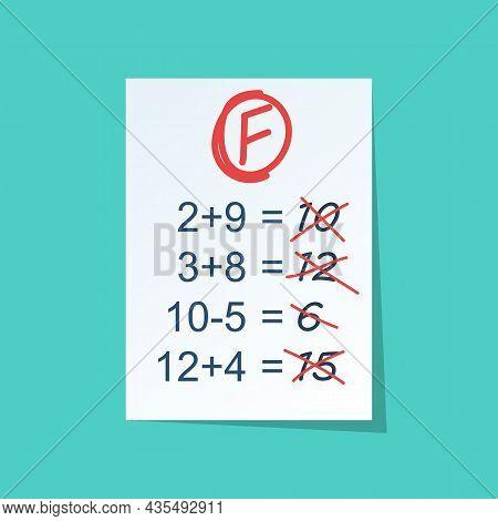 Failed Test Vector Flat Icon. Bad Rating. Negative Result. Refusal In An Envelope. Illustration Desi