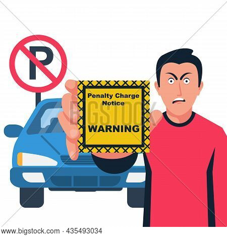 Fine For Violation Of Parking. The Driver Holds A Coupon In The Hands Of Violation. Not Parking. No