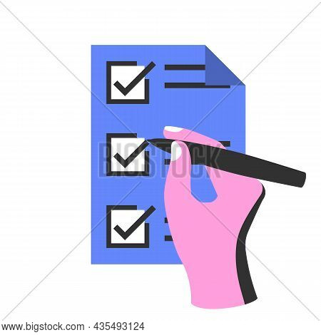 Writing To Do List. Checking Plan. Businessman Writes A List Of Cases With Pencil. Vector Illustrati