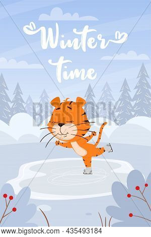 Cute Cartoon Tiger Skating On The Background Of A Winter Landscape With A Forest And Snowdrifts. Ver