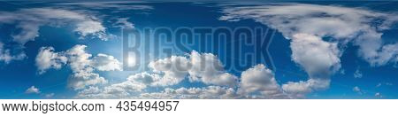 Blue Sky Panorama With Cirrus Clouds In Seamless Spherical Equirectangular Format. Full Zenith For U
