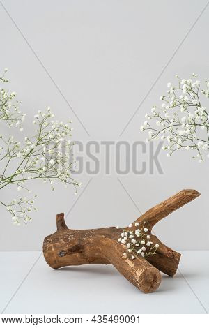 Wooden Podium And Gypsophila Flowers On Grey Background Mockup. Rough Textured Piece Of Wood For Pro