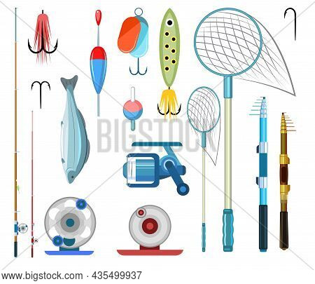 Set Of Fishing Objects. Fishing Rods, Floats And Lures With Hooks. Isolated On White Background. Ful