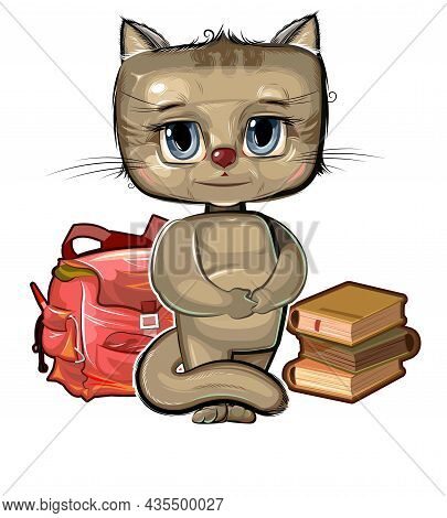Little Kitten Wants To Go To School. Backpack And Books. A Cute Baby Animal Dreams Of Learning. Pict