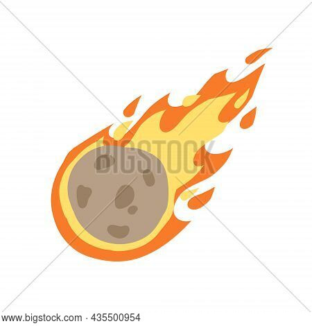 Meteor With Trail Of Fire. Comet With Tail. Dangerous Space Object. Big Asteroid. Cartoon Flat Illus
