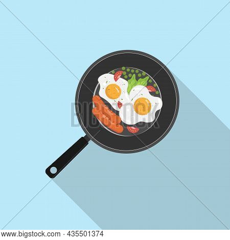 Breakfast Icon. Breakfast In A Pan With Egg, Salad, Tomatoes, Green Peas And Sausages. Omelette Egg